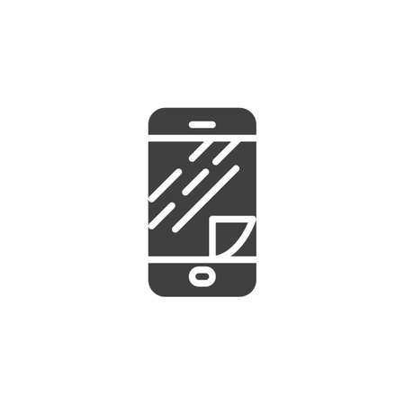 Phone screen protector glass vector icon. filled flat sign for mobile concept and web design. Smartphone display protect film glyph icon. Symbol,  illustration. Vector graphics