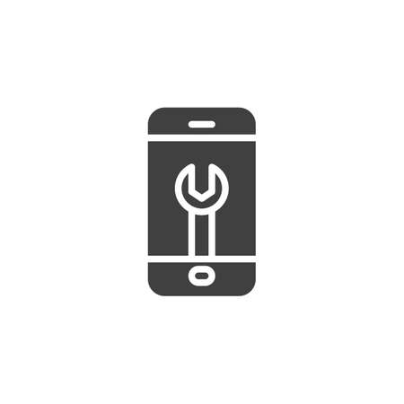 Phone repair vector icon. filled flat sign for mobile concept and web design. Wrench on mobile phone screen glyph icon. Technical support, settings symbol, illustration. Vector graphics