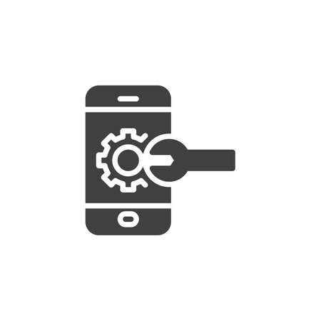 Mobile service vector icon. Smartphone with gear and wrench filled flat sign for mobile concept and web design. Phone repair glyph icon. Symbol,  illustration. Vector graphics Illusztráció