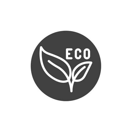 Eco leaves label vector icon. filled flat sign for mobile concept and web design. Eco material badge glyph icon. Symbol, illustration. Vector graphics 일러스트