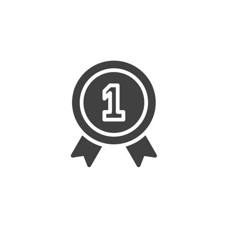 One year warranty badge vector icon. filled flat sign for mobile concept and web design. 1 year guarantee certificate glyph icon. Symbol, illustration. Vector graphics