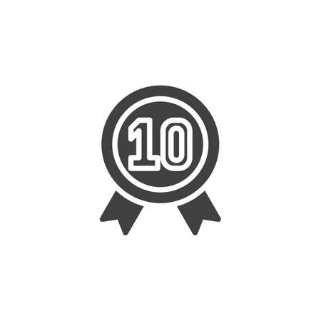 Ten year warranty badge vector icon. filled flat sign for mobile concept and web design. 10 year guarantee certificate glyph icon. Symbol, illustration. Vector graphics