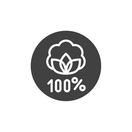 Organic linen label vector icon. filled flat sign for mobile concept and web design. Linen natural 100 hundred percent glyph icon. Symbol, illustration. Vector graphics