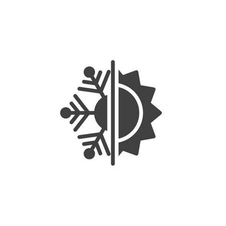 Icône vectorielle résistante à la chaleur et au froid. Panneau plat rempli de flocon de neige et de soleil pour le concept mobile et la conception Web. Icône de glyphe d'isolation de chaleur et de gel. Symbole, illustration. Graphiques vectoriels