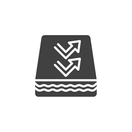 Breathable Mattress vector icon. filled flat sign for mobile concept and web design. Orthopedic Mattress glyph icon. Symbol, illustration. Vector graphics 일러스트