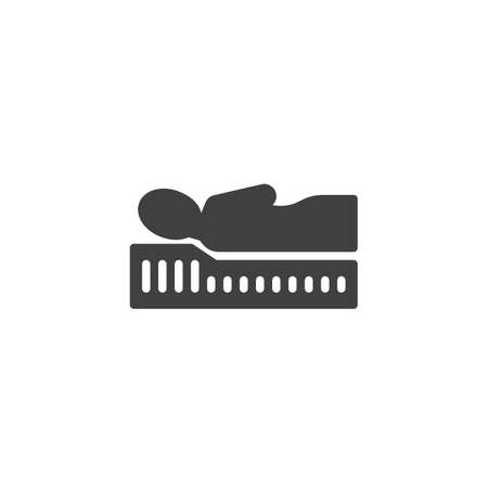 Correct sleep with Orthopedic mattress vector icon. filled flat sign for mobile concept and web design. Comfortable mattress glyph icon. Symbol,  illustration. Vector graphics 스톡 콘텐츠 - 129811109