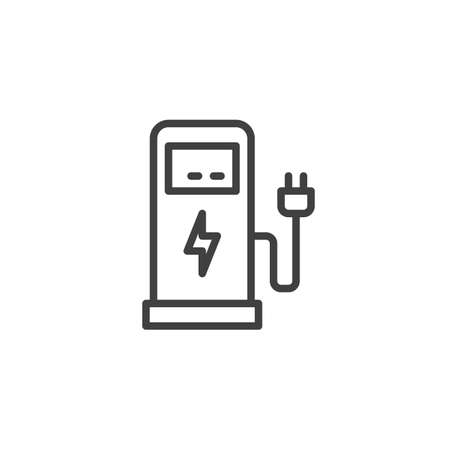 Electric car charging station line icon. linear style sign for mobile concept and web design. Electric Fuel Pump outline vector icon. Symbol, logo illustration. Vector graphics