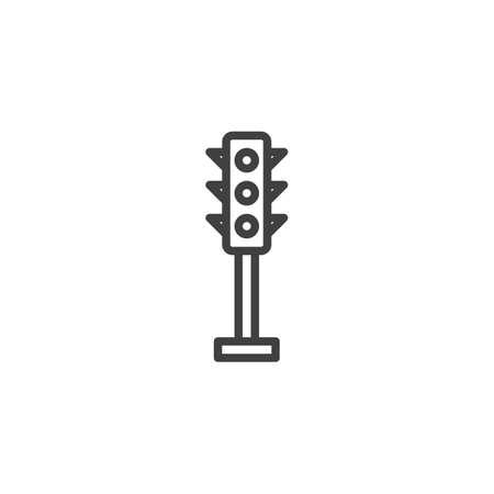 Traffic light line icon. linear style sign for mobile concept and web design. Stoplight outline vector icon. Symbol, logo illustration. Vector graphics