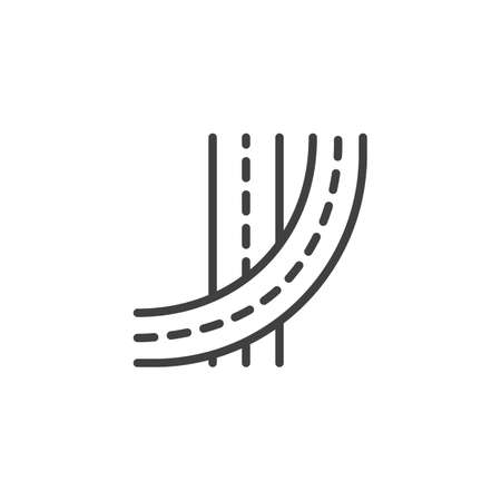Street roads line icon. linear style sign for mobile concept and web design. Highway road outline vector icon. Symbol, logo illustration. Vector graphics