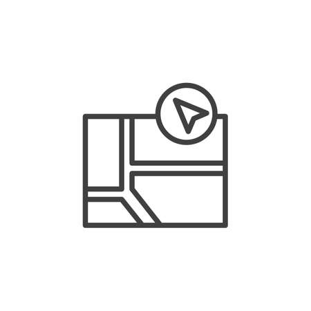 gps navigation map cursor line icon. linear style sign for mobile concept and web design. Navigator guide outline vector icon. Symbol, logo illustration. Vector graphics  イラスト・ベクター素材