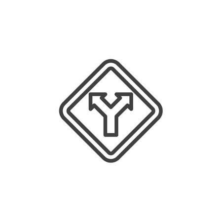 Two way traffic sign line icon. linear style sign for mobile concept and web design. Junction Road Sign outline vector icon. Symbol, logo illustration. Vector graphics  イラスト・ベクター素材