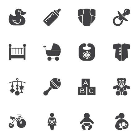 Baby vector icons set, modern solid symbol collection, filled style pictogram pack. Signs, logo illustration. Set includes icons as rubber duck, pram, maternity, newborn baby, diaper, rattle, pacifier