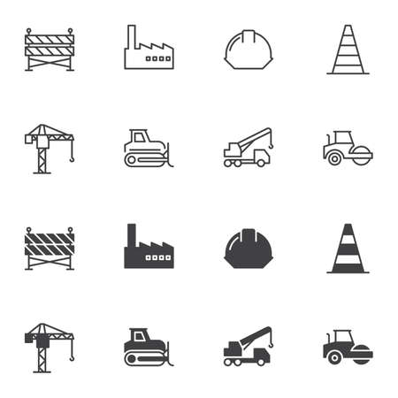 Building and construction icon set, line and glyph version, outline and filled vector sign. linear and full pictogram. Symbol, logo illustration. Set includes icons as safety helmet, crane, excavator Banque d'images - 131229540