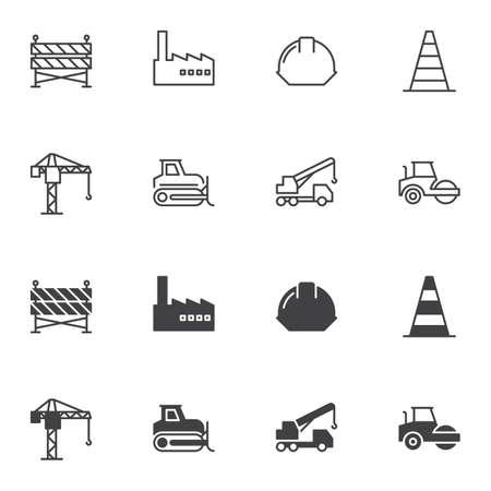 Zestaw ikon budowy i budowy, wersja linii i glifów, kontur i wypełniony znak wektor. piktogram liniowy i pełny. Symbol, ilustracja logo. Zestaw zawiera ikony takie jak kask ochronny, dźwig, koparka Logo
