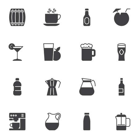 Cocktail drinks vector icons set, modern solid symbol collection, filled style pictogram pack. Signs, logo illustration. Set includes icons as beer mug, wine bottle, water, fresh apple juice glass