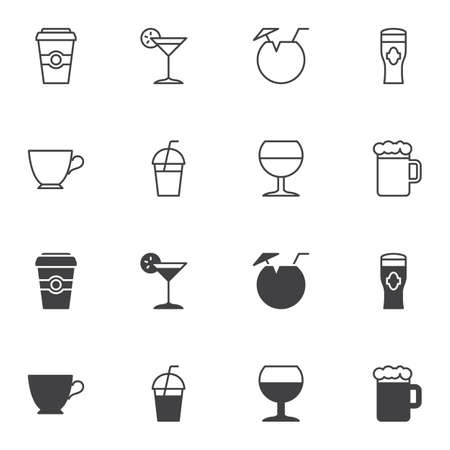 Drink icon set, line and glyph version, outline and filled vector sign. linear and full pictogram. Symbol, logo illustration. Set includes icons as martini glass, coconut drink, beer mug, coffee cup Иллюстрация