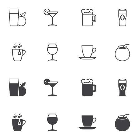 Drinks menu icon set, line and glyph version, outline and filled vector sign. linear and full pictogram. Symbol, logo illustration. Set includes icons as fresh apple juice, tea, beer, alcohol drink