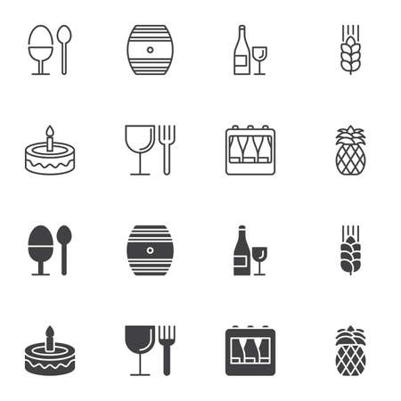 Food and drink icon set, line and glyph version, outline and filled vector sign. linear and full pictogram. Symbol, logo illustration. Set includes icons as wine barrel , champagne glass, cake, beer Иллюстрация