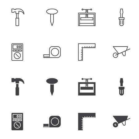 Repair tool icon set, line and glyph version, outline and filled vector sign. linear and full pictogram. Symbol, logo illustration. Set includes icons as hammer, nail, screwdriver, electric tester