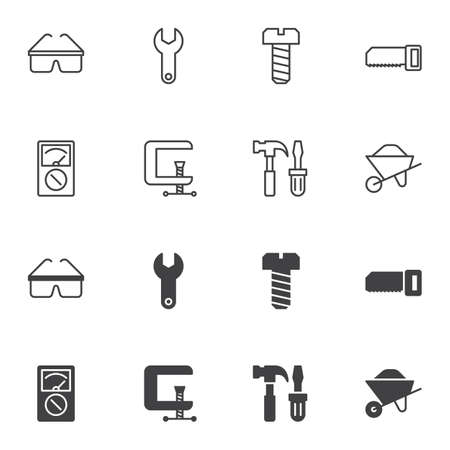 Repair tool icon set, line and glyph version, outline and filled vector sign. linear and full pictogram. Symbol logo illustration. Set includes icons as clamp, wrench, hammer, screwdriver, wheelbarrow