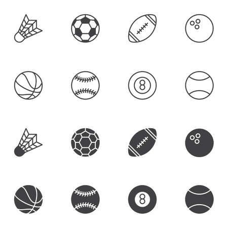Sport balls icon set, line and glyph version, outline and filled vector sign. linear and full pictogram. Symbol, logo illustration. Set includes icons as soccer, rugby, bowling, tennis, baseball  イラスト・ベクター素材