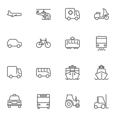 Public transport line icons set. linear style symbols collection, outline signs pack. vector graphics. Set includes icons as plane, helicopter, ambulance truck, tram, railway train, ship, taxi, car