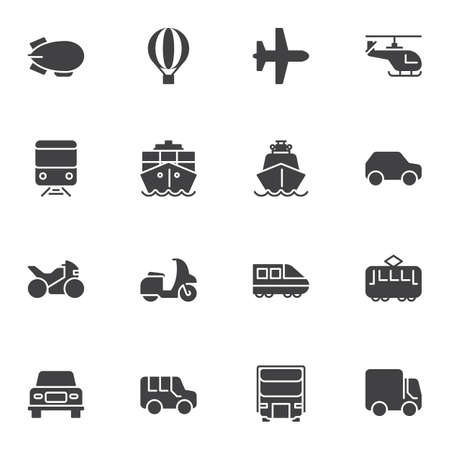 Transport vehicles vector icons set, modern solid symbol collection, filled style pictogram pack. Signs, logo illustration. Set includes icons as hot air balloon, plane, helicopter, scooter, train