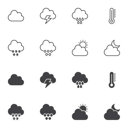 Weather forecast icon set, line and glyph version, outline and filled vector sign. linear and full pictogram. Symbol, logo illustration. Set includes icons as thermometer, snowy cloud, lightning, sun