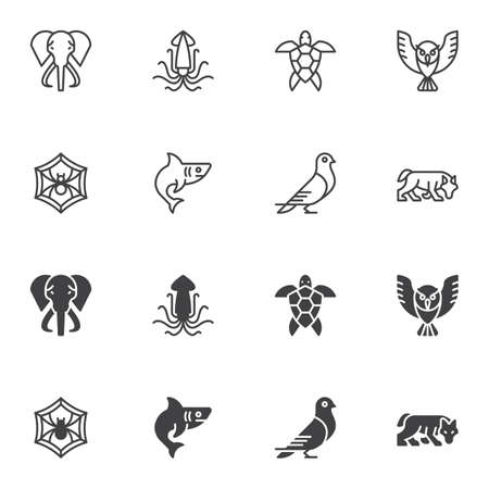 Animals icon set, line and glyph version, outline and filled vector sign. linear and full pictogram. Symbol, logo illustration. Set includes icons as elephant, spider web, wolf, shark fish, owl bird