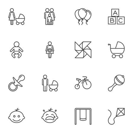 Baby toys line icons set. linear style symbols collection, outline signs pack. vector graphics. Set includes icons as pacifier, rattle, bicycle, swing, kite, air balloon, wood cubes, maternity, pram Reklamní fotografie - 131229688