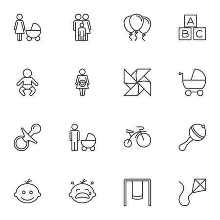 Babyspielzeug Linie Icons Set. Sammlung von Symbolen im linearen Stil, Packung mit Umrisszeichen. Vektorgrafiken. Das Set enthält Symbole wie Schnuller, Rassel, Fahrrad, Schaukel, Drachen, Luftballon, Holzwürfel, Mutterschaft, Kinderwagen