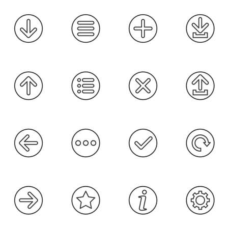 Basic universal arrows line icons set. linear style symbols collection, outline signs pack. vector graphics. Set includes icons as download and upload arrow, settings gear, internet button, bookmark Çizim