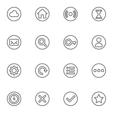Web UI line icons set. linear style symbols collection, outline signs pack. vector graphics. Set includes icons as cloud, home, disc, hourglass, email, search, key, user settings, bookmark star, clock