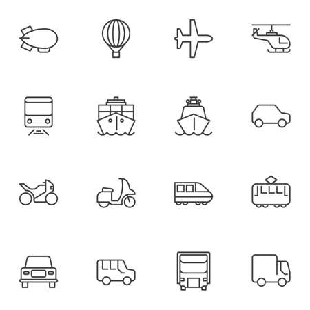 Transport vehicles line icons set. linear style symbols collection, outline signs pack. vector graphics. Set includes icons as hot air balloon, plane, helicopter, scooter, train, cargo ship, truck Иллюстрация