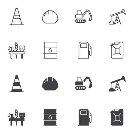 Oil industry icon set, line and glyph version, outline and filled vector sign. linear and full pictogram. Symbol, logo illustration. Set includes icons as oil platform, fuel pump, jerrycan, barrel