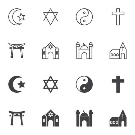 Religion signs icon set, line and glyph version, outline and filled vector sign. linear and full pictogram. Symbol, logo illustration. Set includes icons as david star, yin yang, holy cross, church
