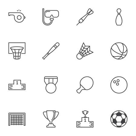 Sports equipment line icons set. linear style symbols collection, outline signs pack. vector graphics. Set includes icons as basketball ball, medal, winners podium, award cup, referee whistle, soccer  イラスト・ベクター素材
