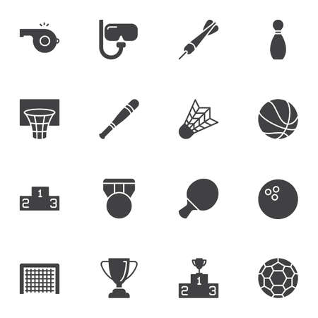 Sports equipment vector icons set, modern solid symbol collection, filled style pictogram pack. Signs logo illustration. Set includes icons as basketball ball, medal, winners podium, award cup, soccer  イラスト・ベクター素材