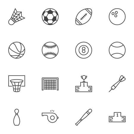 Sports Equipment line icons set. linear style symbols collection outline signs pack. vector graphics. Set includes icons as soccer, american football, tennis volleyball ball, basketball hoop, baseball