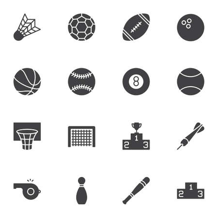 Sports Equipment vector icons set, modern solid symbol collection, filled style pictogram pack. Signs, logo illustration. Set includes icons as soccer, american football, tennis ball, basketball hoop