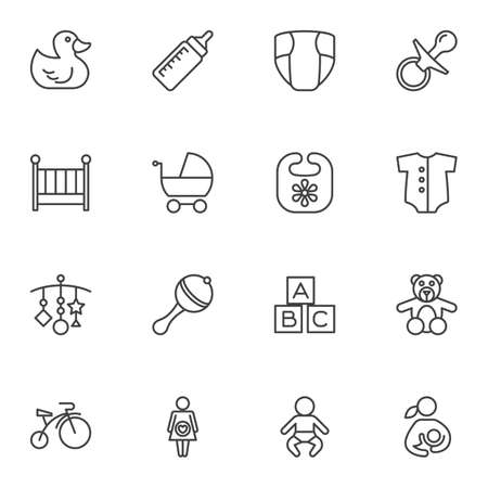 Baby line icons set. linear style symbols collection, outline signs pack. vector graphics. Set includes icons as rubber duck, pram, maternity, newborn baby, diaper, rattle, pacifier, milk bottle, crib 일러스트