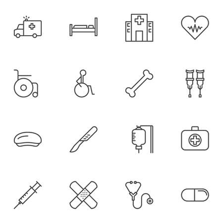 Medical line icons set. linear style symbols collection, outline signs pack. vector graphics. Set includes icons as ambulance truck, hospital building, wheelchair, surgery scalpel, blood transfusion Standard-Bild - 131230110
