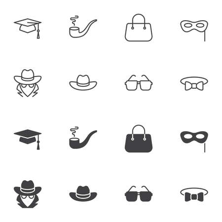 Costume party icon set, line and glyph version, outline and filled vector sign. linear and full pictogram. Symbol, logo illustration. Set includes icons as eye mask, detective hat, glasses, bow tie Stock fotó - 131230111
