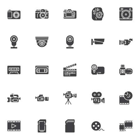 Video and photo vector icons set, modern solid symbol collection, filled style pictogram pack. Signs, logo illustration. Set includes icons as movie camera, film strip, camcorder, cctv, cassette tape Archivio Fotografico - 131230131