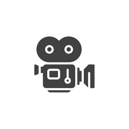 Movie camera with film strip vector icon. filled flat sign for mobile concept and web design. Camcorder, retro cinema projector glyph icon. Symbol, logo illustration. Vector graphics  イラスト・ベクター素材