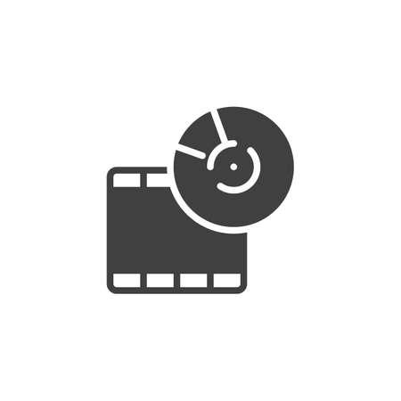 Film strip reel vector icon. filled flat sign for mobile concept and web design. Filmstrip glyph icon. Symbol, logo illustration. Vector graphics Illustration