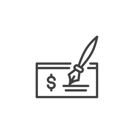 Cheque, signature line icon. linear style sign for mobile concept and web design. Dollar check with pen outline vector icon. Bank and finance, pay symbol, logo illustration. Vector graphics