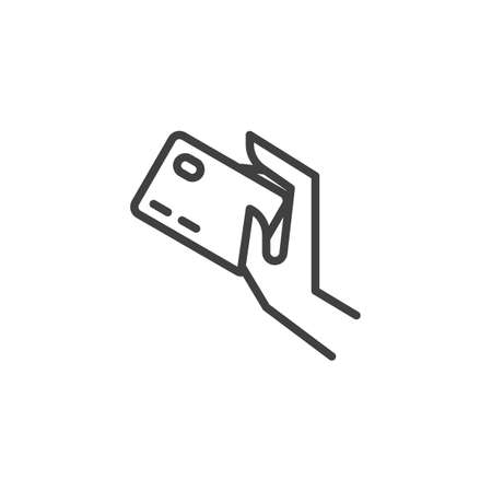 Credit card payment line icon. linear style sign for mobile concept and web design. Hand with credit card outline vector icon. Payment option symbol, logo illustration. Vector graphics