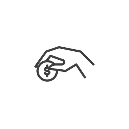 Payment with dollar coin line icon. linear style sign for mobile concept and web design. Donation hand with money coin outline vector icon. Symbol, logo illustration. Vector graphics Çizim
