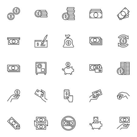 Money line icons set. linear style symbols collection, outline signs pack. vector graphics. Set includes icons as Dollar coins, money bill, payment credit card, cash, bank cheque, currency exchange